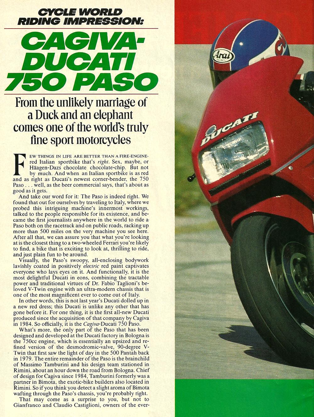 1986 Cagiva-Ducati 750 Paso road test 01.jpg