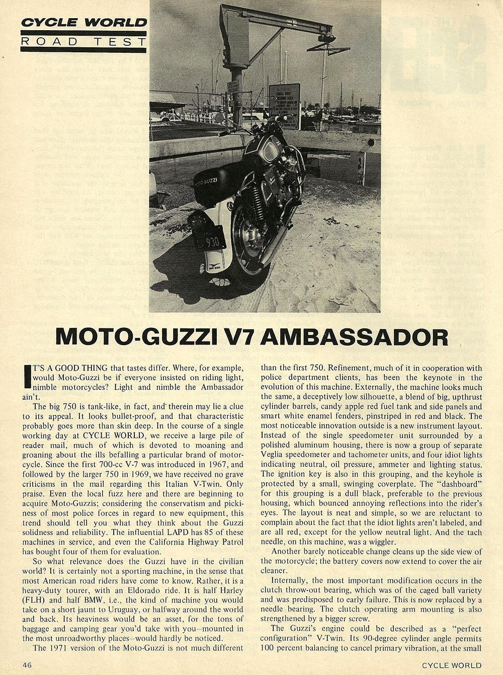 1971 Moto Guzzi V7 Ambassador road test 01.jpg