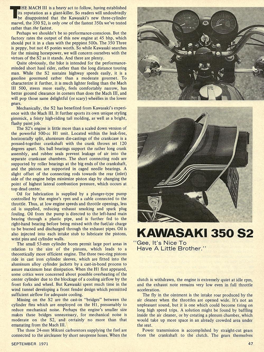 1971 Kawasaki 350 S2 road test 02.jpg
