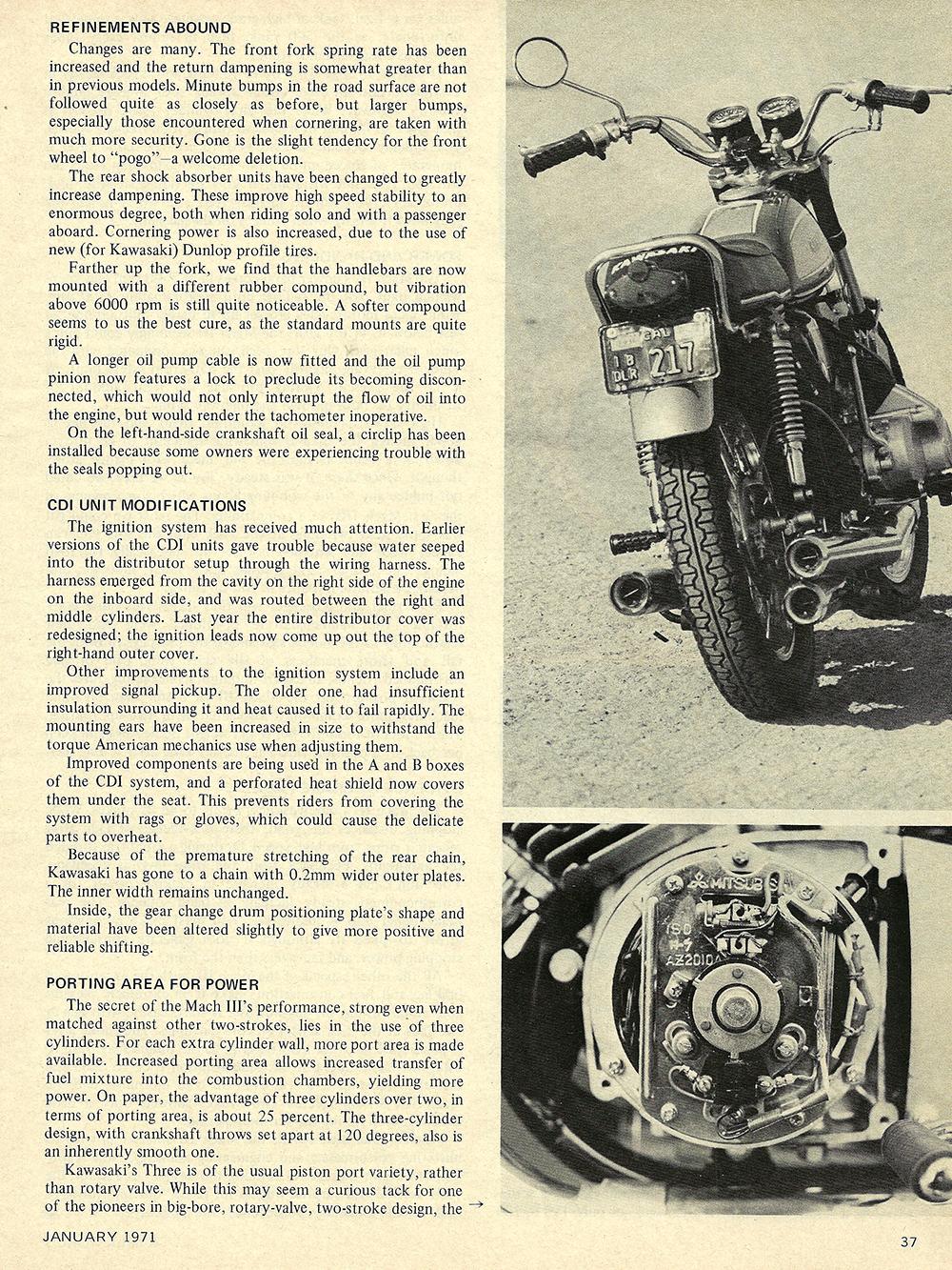 1971 Kawasaki Mach 3 road test 02.jpg