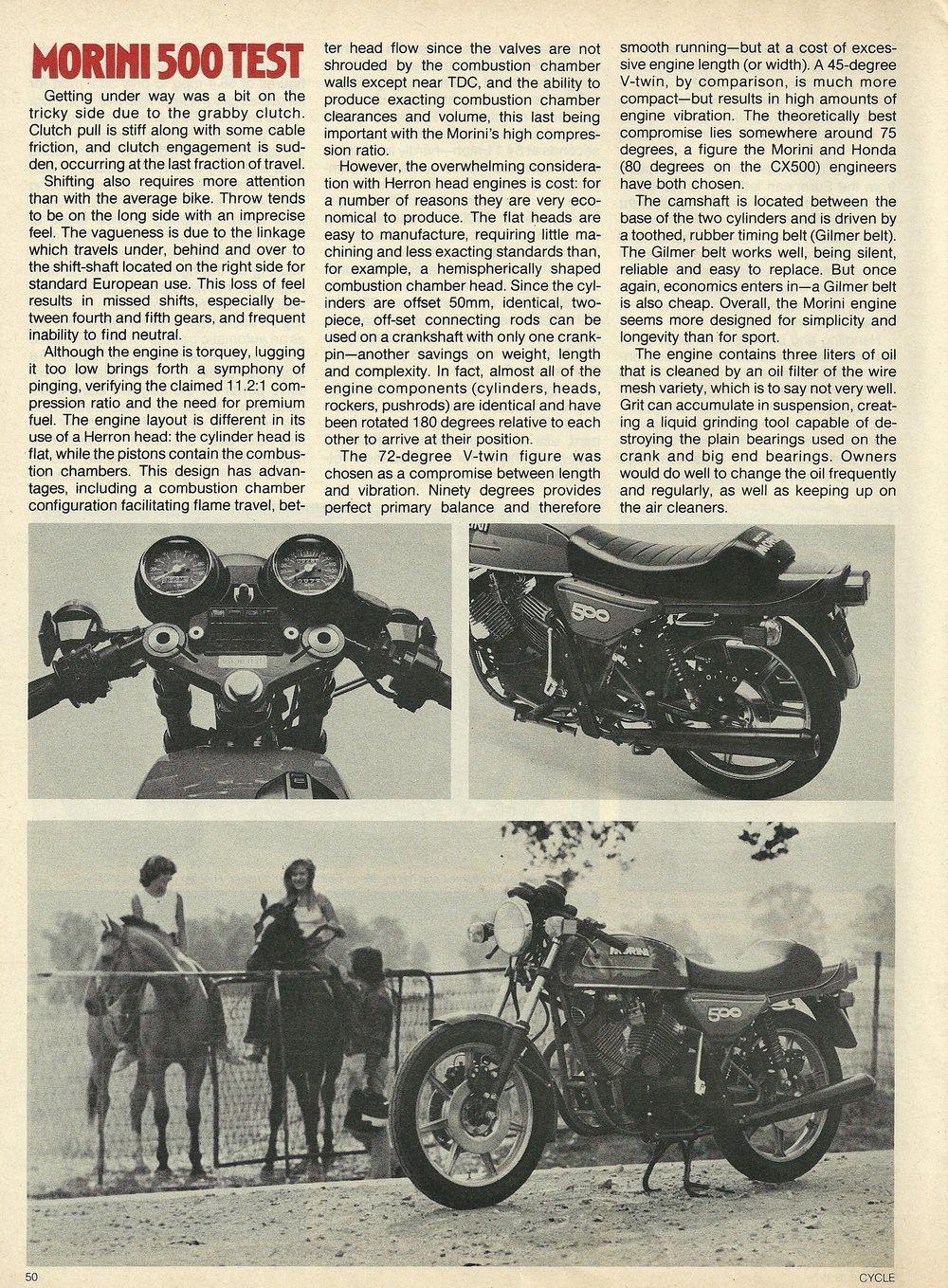 1980 Moto Morini 500 Sport road test 5.JPG