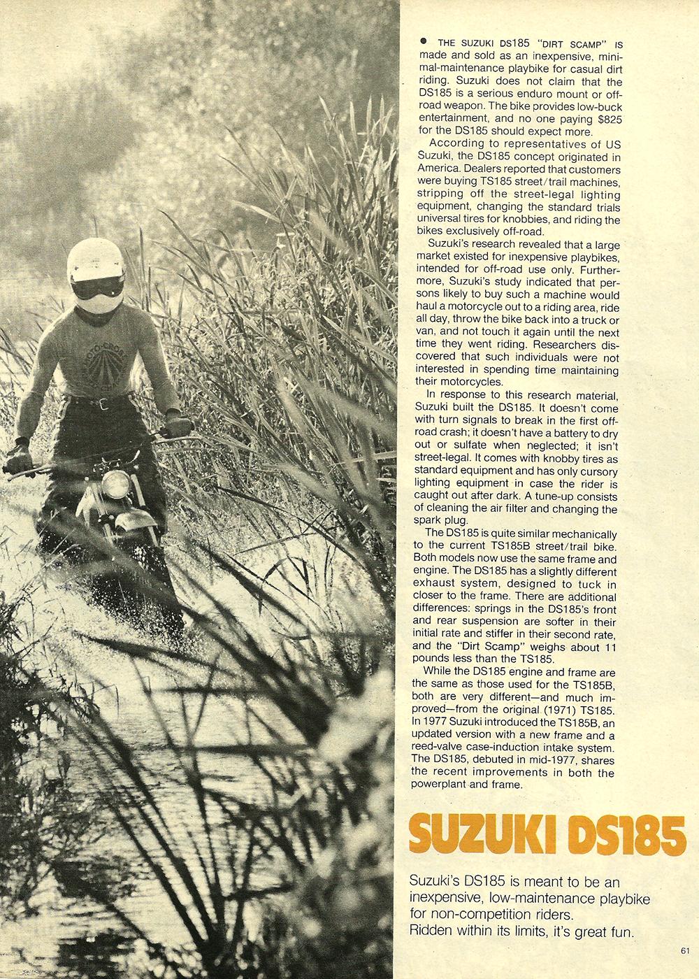 1977 Suzuki DS185 road test 02.jpg