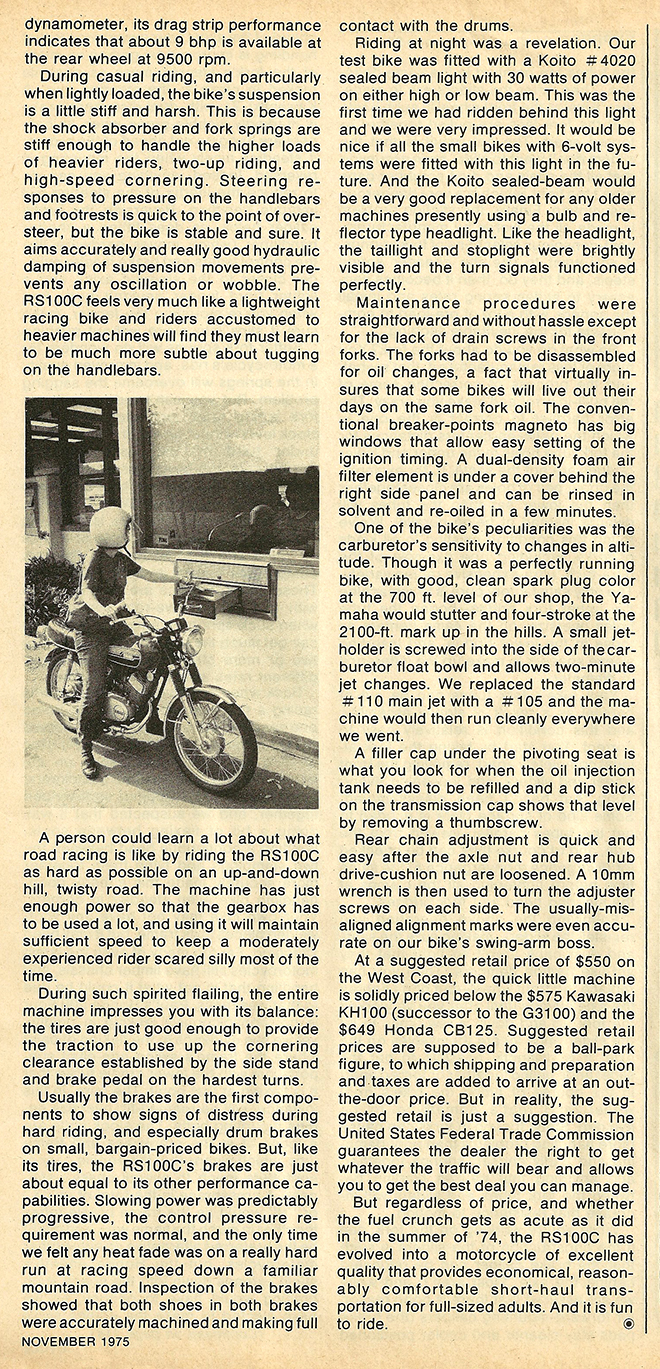 1975 Yamaha RS 100C road test 4.JPG