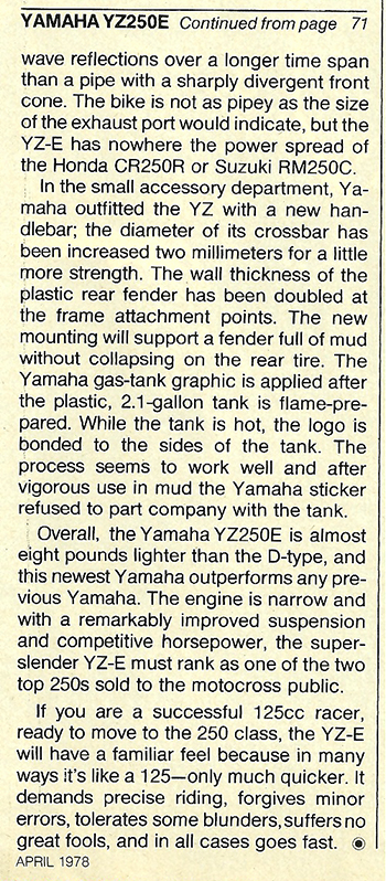 1978 Yamaha YZ250E road test 9.jpg