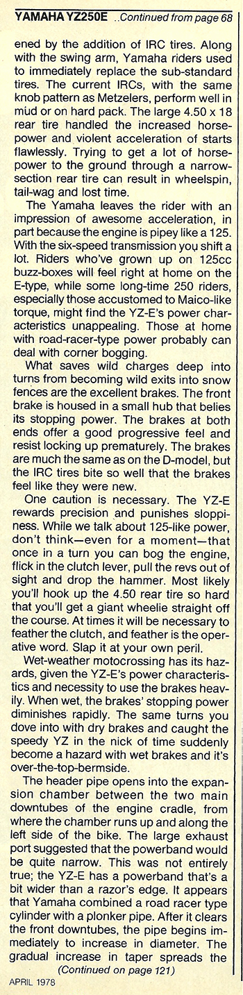 1978 Yamaha YZ250E road test 8.jpg