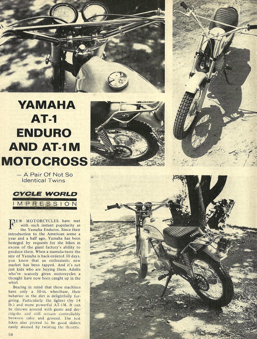1970 Yamaha AT1 enduro AT1M Motocross road test 01.jpg