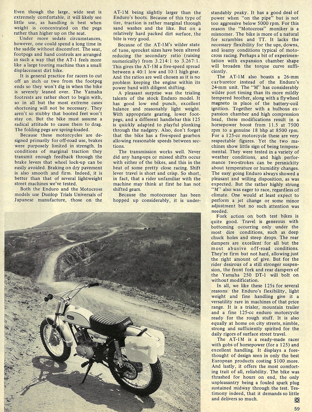 1970 Yamaha AT1 enduro AT1M Motocross road test 02.jpg