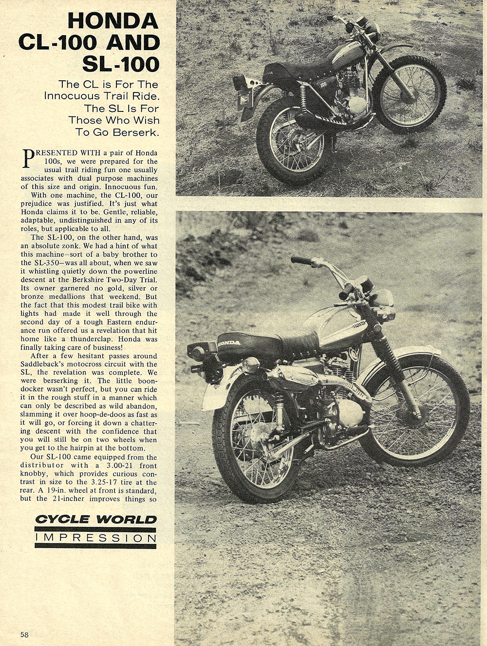 1970 Honda CL100 and SL100 road test 01.jpg
