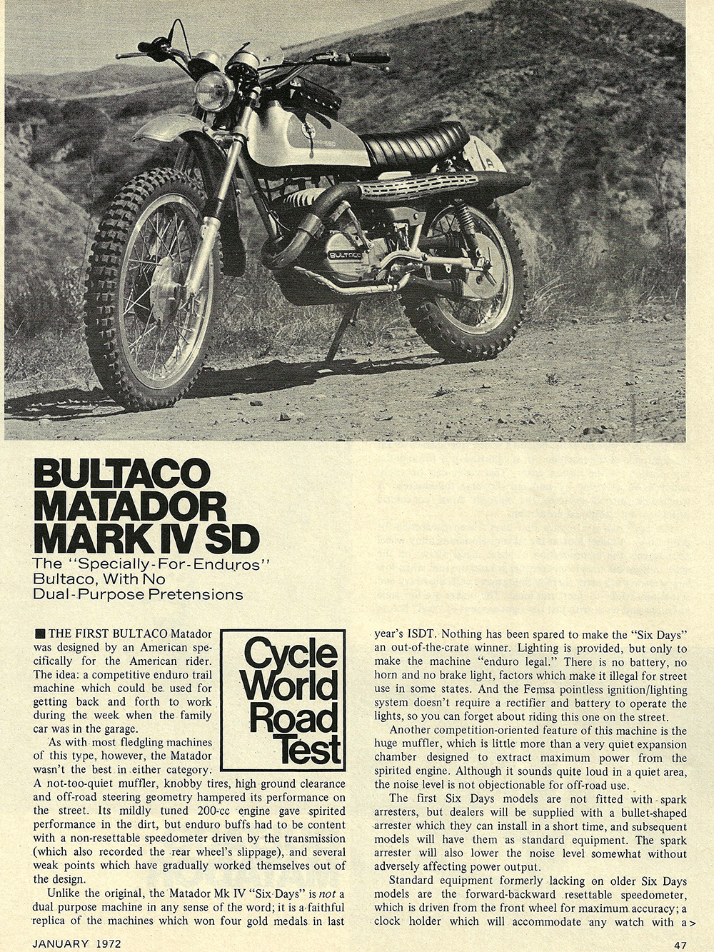 1972 Bultaco Matador Mark 4 SD road test 02.jpg