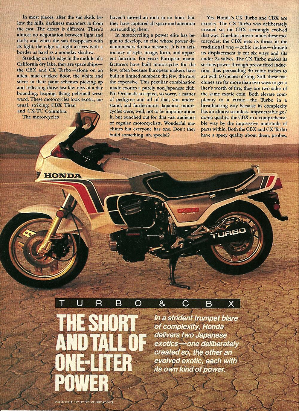 1982 Honda CBX vs CX 500 Turbo road test 01.jpg
