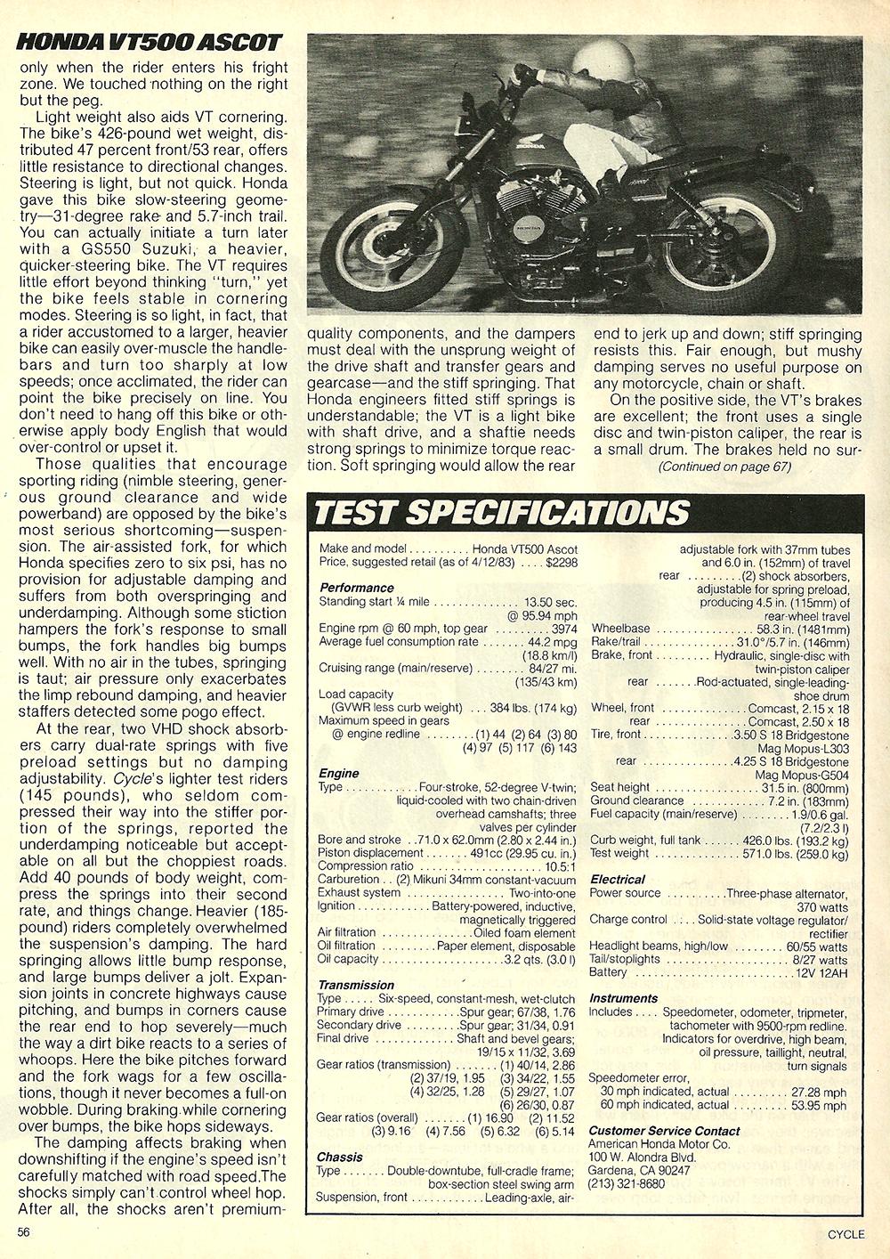 1983 Honda VT500 Ascot road test 7.jpg