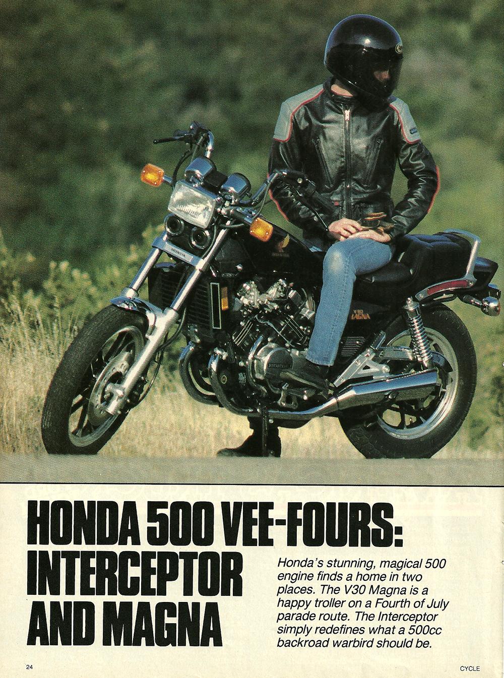 1984 Honda V30 Magna and VF500F Interceptor road test 01.jpg