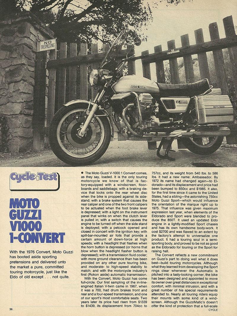 1976 Moto Guzzi V1000 Convert road test 1.JPG