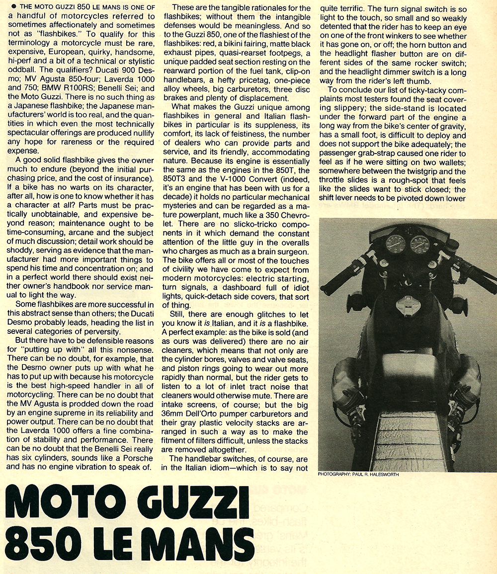 1977 Moto Guzzi 850 LeMans road test 02.jpg