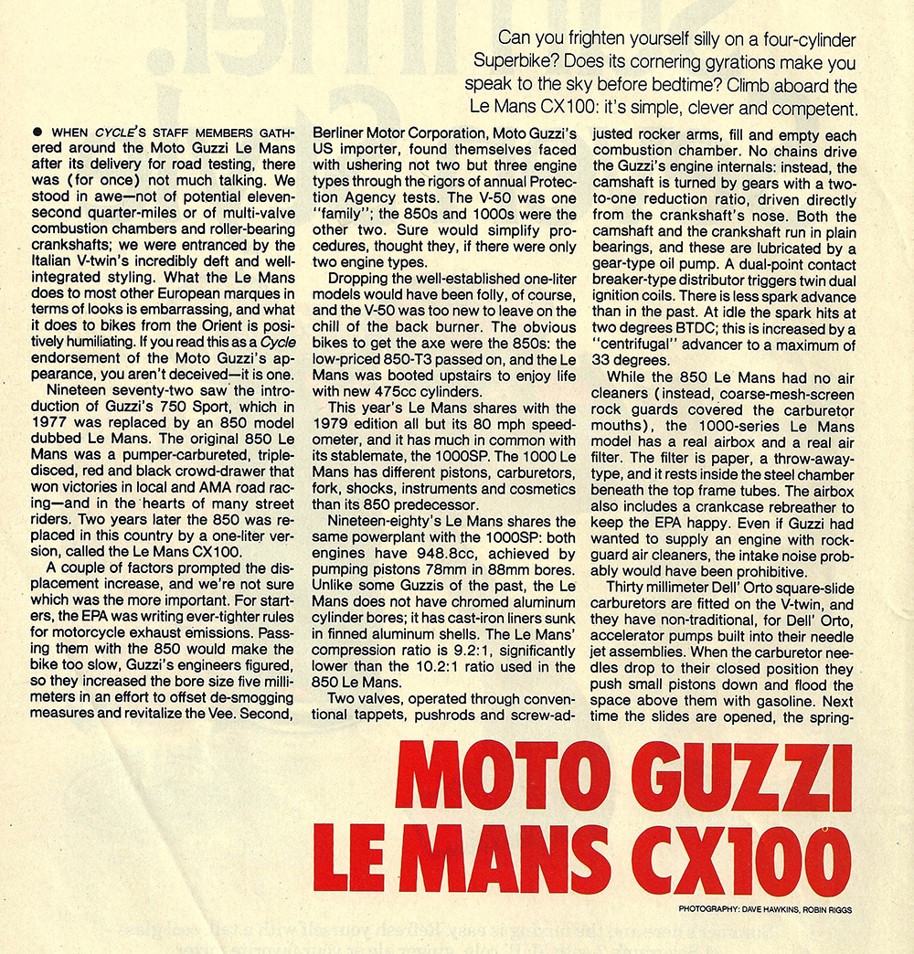 1980 Moto Guzzi Lemans CX100 road test 01.jpg