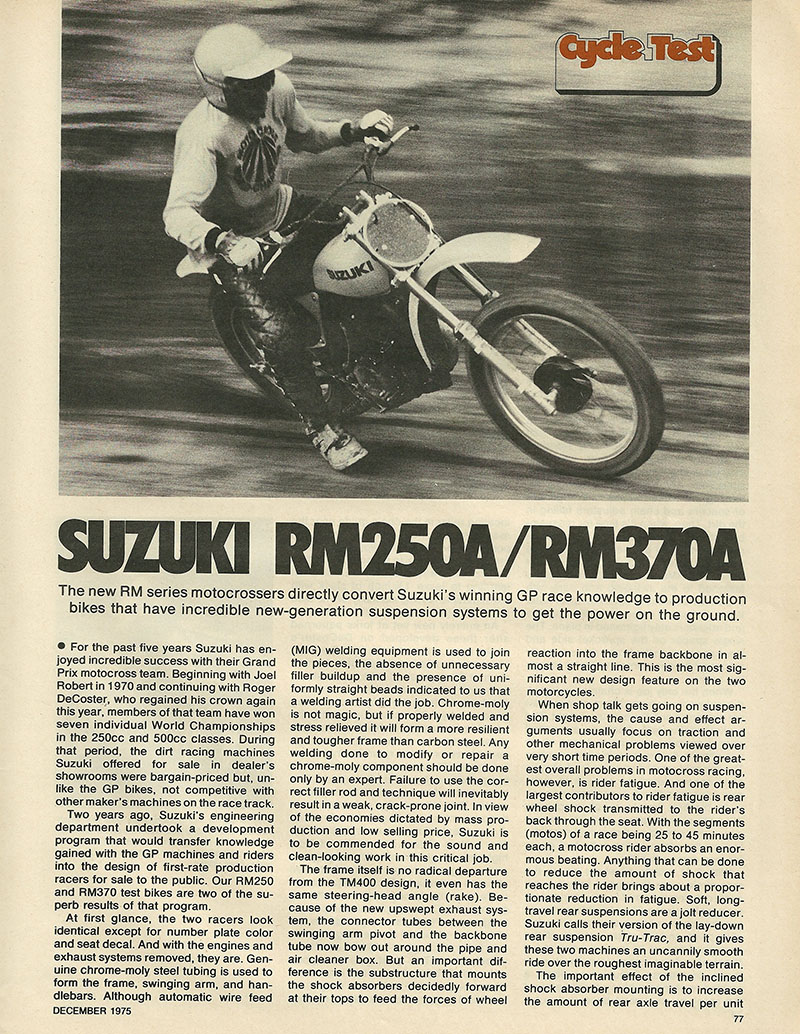 Ye Olde Cycle Shoppe Suzuki Rm 250 Engine Diagram 1975 Rm250 And Rm370 Off Road Test 1