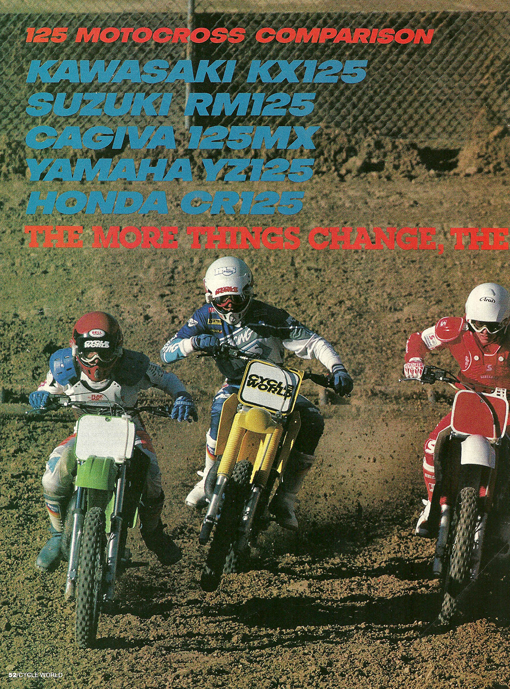 1987 Comparison KX125 vs RM125 vs Cagiva 125MX vs YZ125 vs CR125 road test 01.jpg
