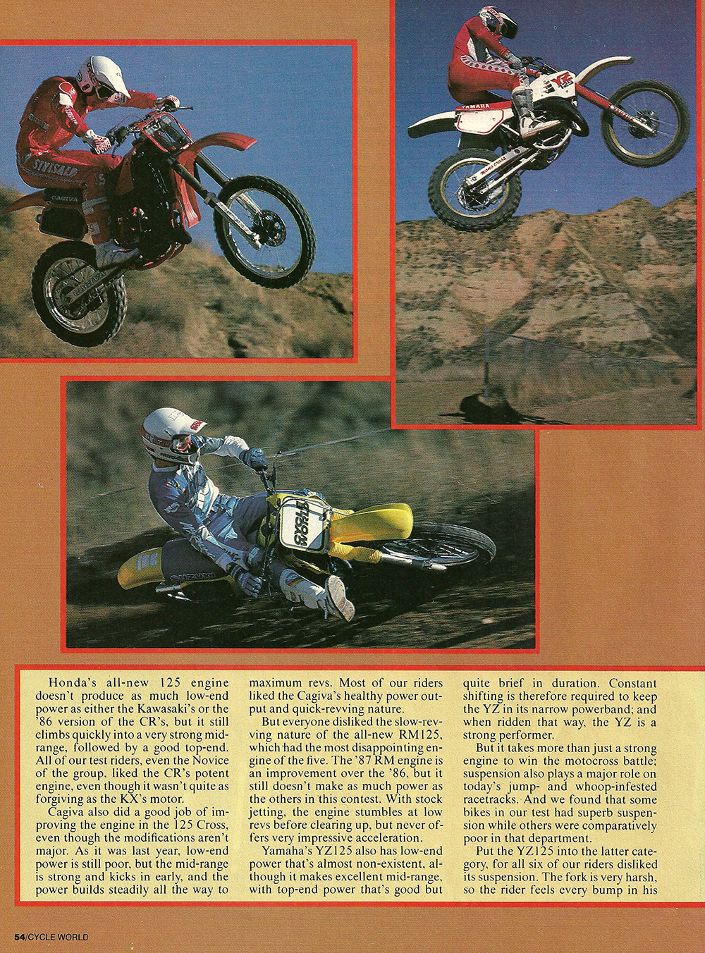1987 Comparison KX125 vs RM125 vs Cagiva 125MX vs YZ125 vs CR125 road test 03.jpg