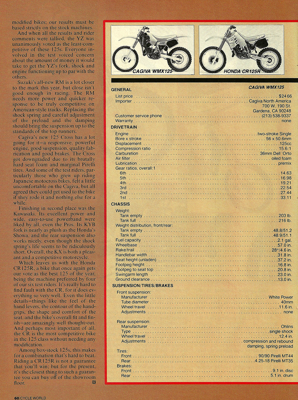 1987 Comparison KX125 vs RM125 vs Cagiva 125MX vs YZ125 vs CR125 road test 06.jpg