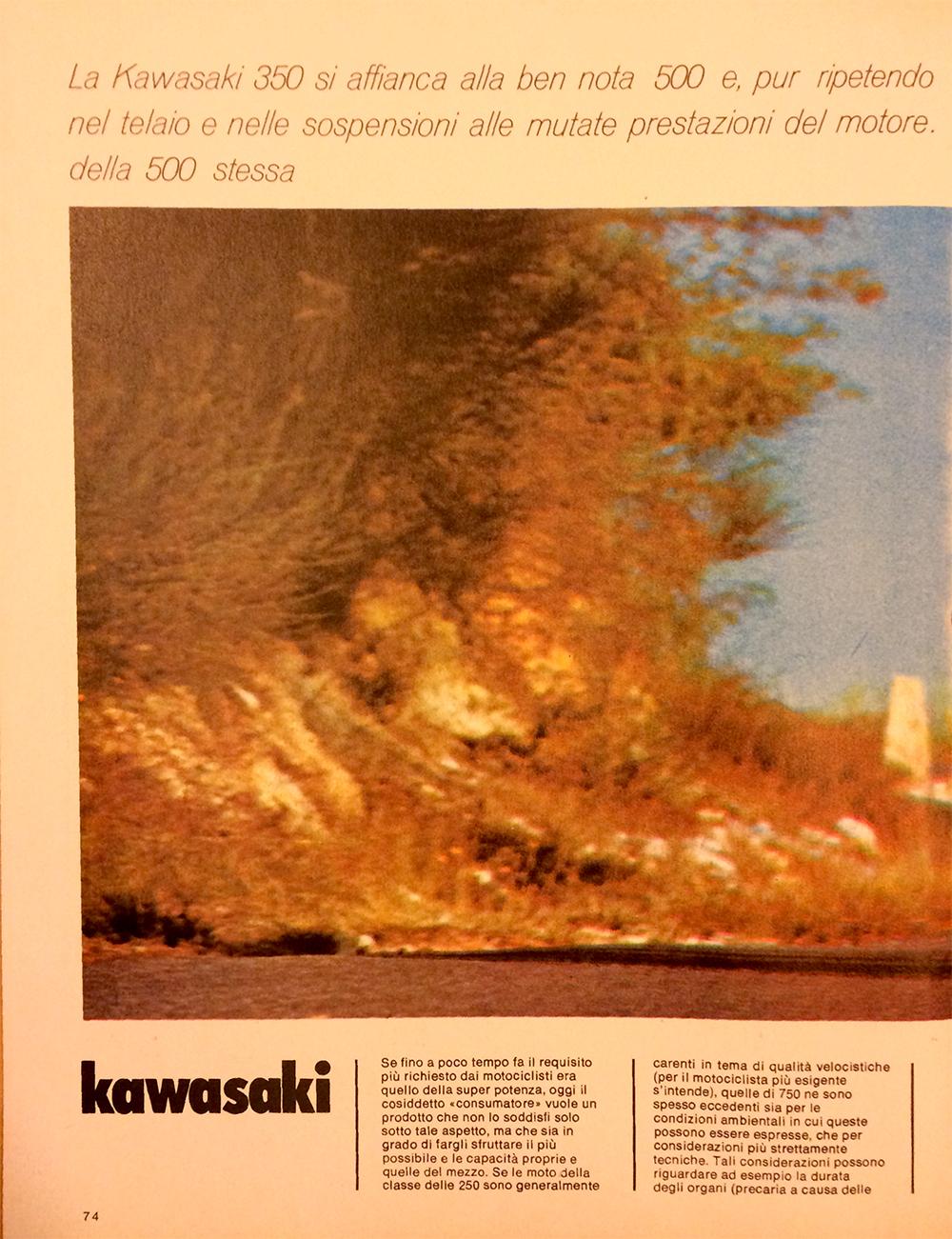 1971 Kawasaki 350 S2 Italy road test 02.jpg