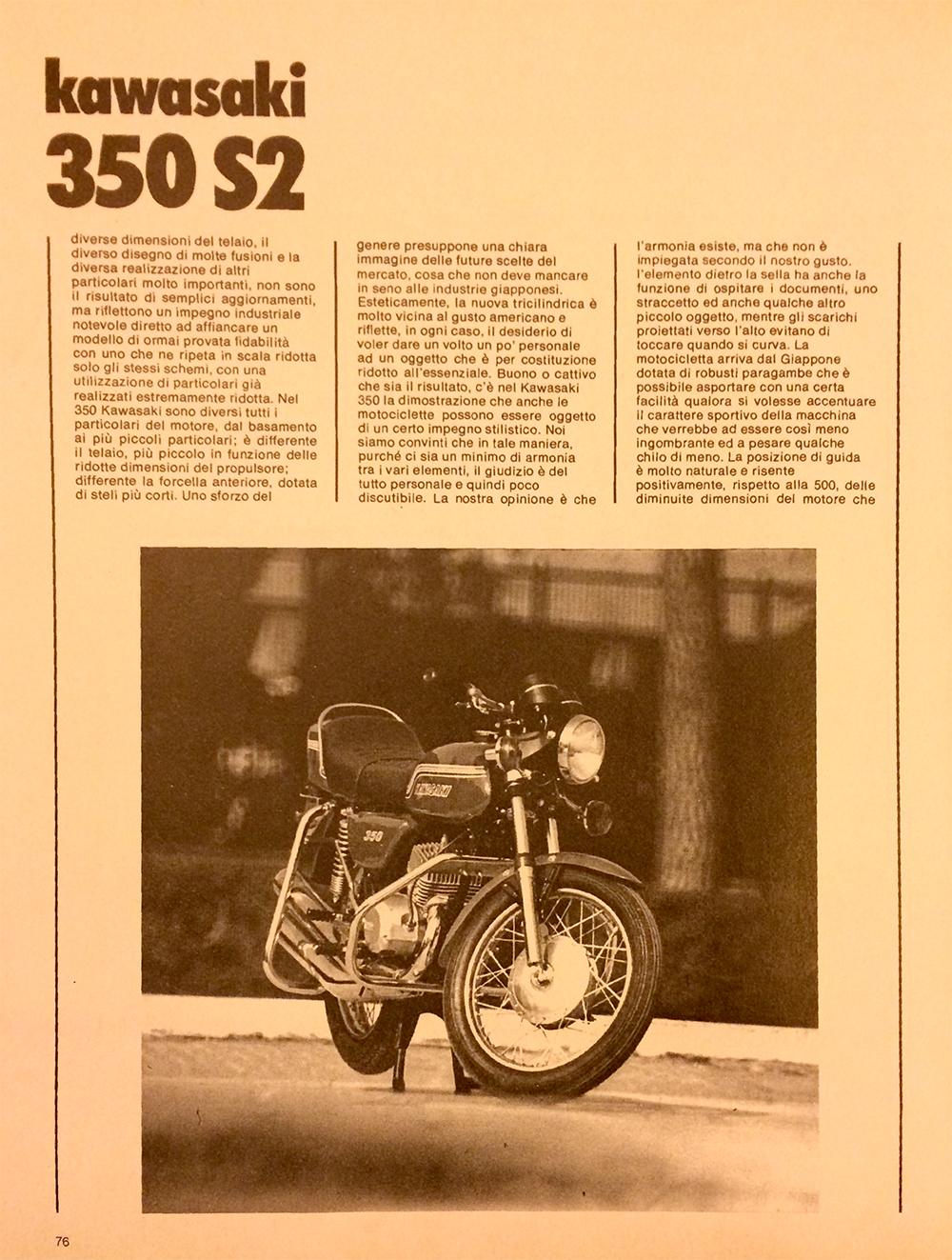 1971 Kawasaki 350 S2 Italy road test 04.jpg