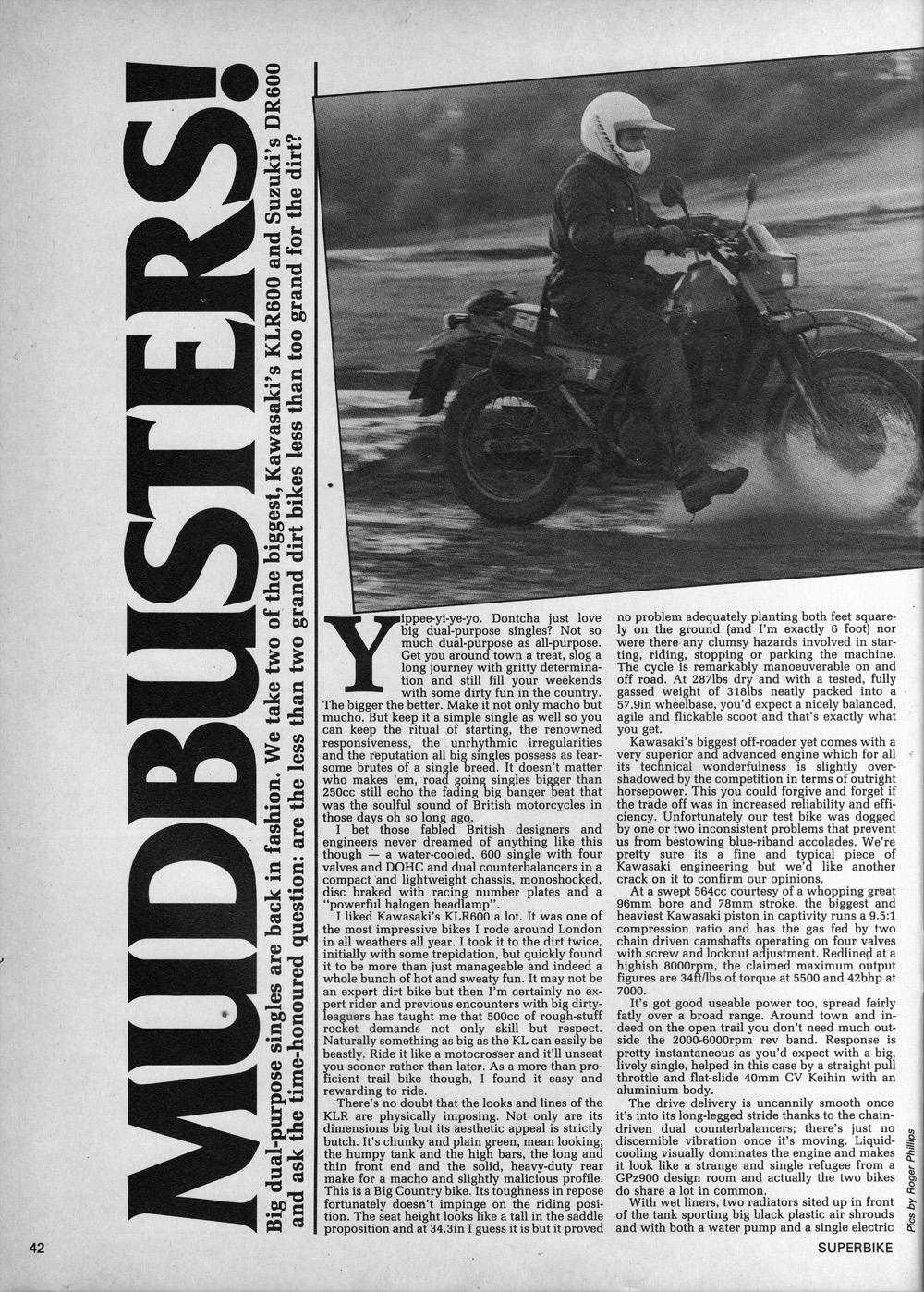 1985 Kawasaki KLR600 vs Suzuki DR600 road test 01.jpg