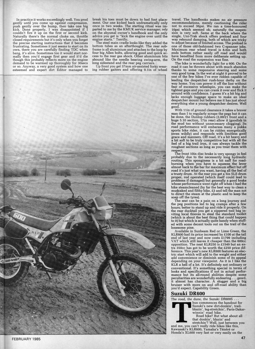 1985 Kawasaki KLR600 vs Suzuki DR600 road test 04.jpg