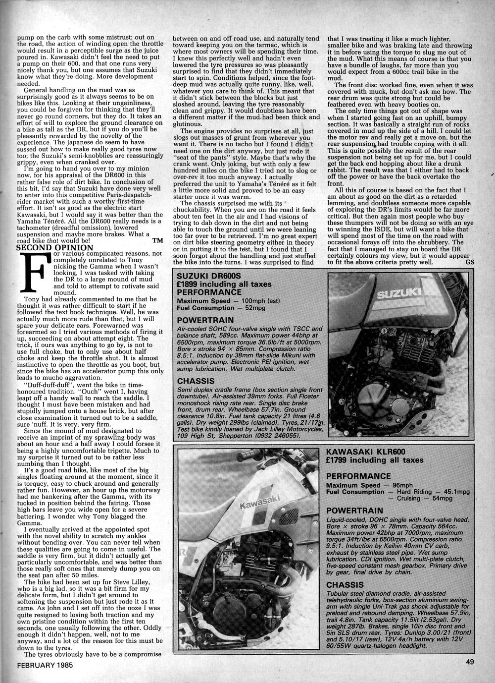 1985 Kawasaki KLR600 vs Suzuki DR600 road test 06.jpg