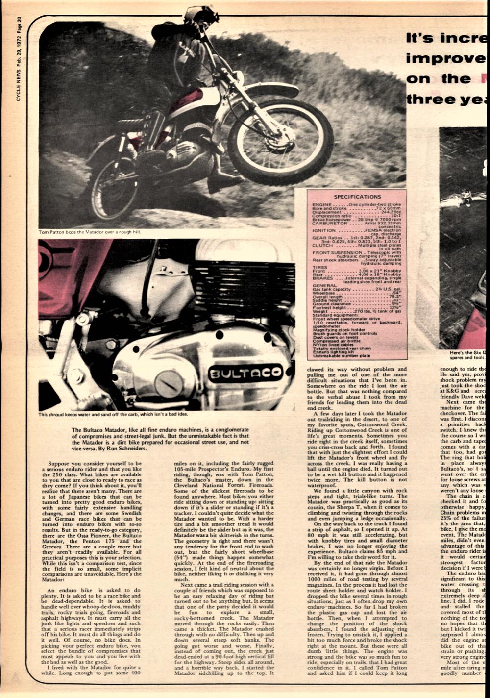1972 Bultaco Matador road test  — Ye Olde Cycle Shoppe