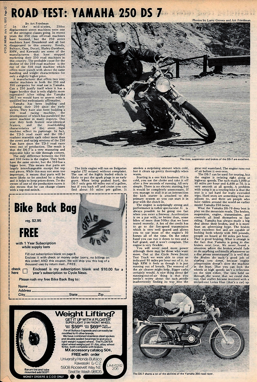 1972 Yamaha 250DS 7 road test  — Ye Olde Cycle Shoppe