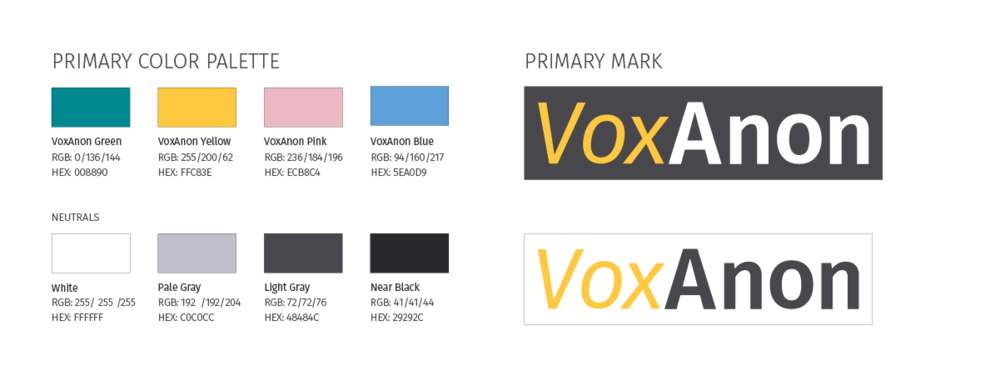 Logo and color palette for VoxAnon.