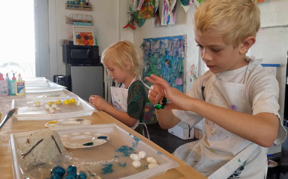 Painting and creating things from clay at Lalu Arts Center.