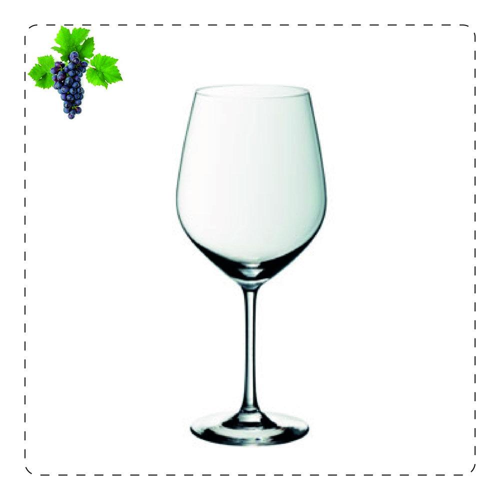 BALLON  Il calice con pancia di ampiezza media è utilizzato per servire vini rossi morbidi e vellutati.
