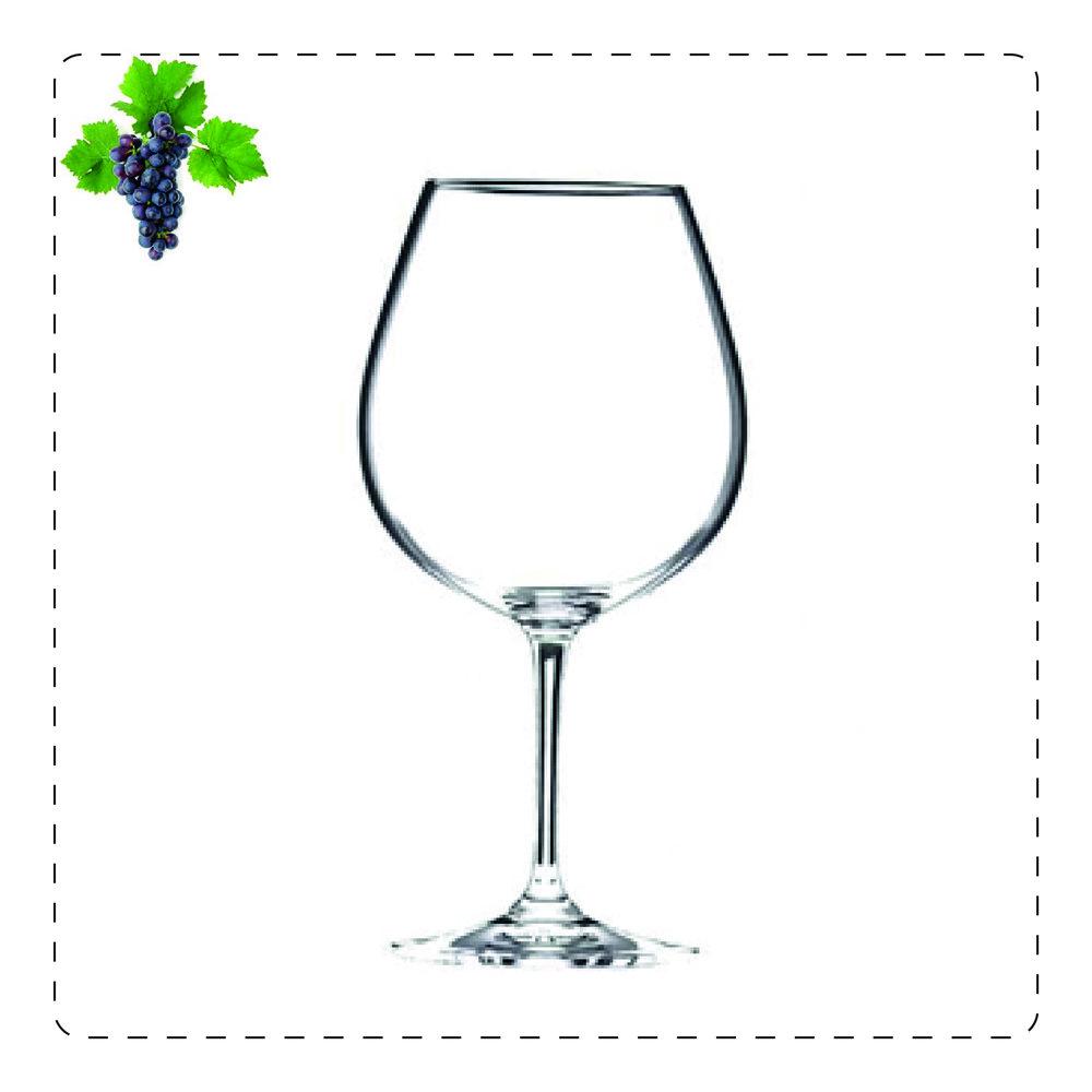 GRAND BALLON  Il calice con pancia di grande ampiezza è adatto per vini rossi corposi e invecchiati, visto la sua forma generosa è adatta a convogliare verso il naso i profumi che si sprigionano nella parte più rotondeggiante.