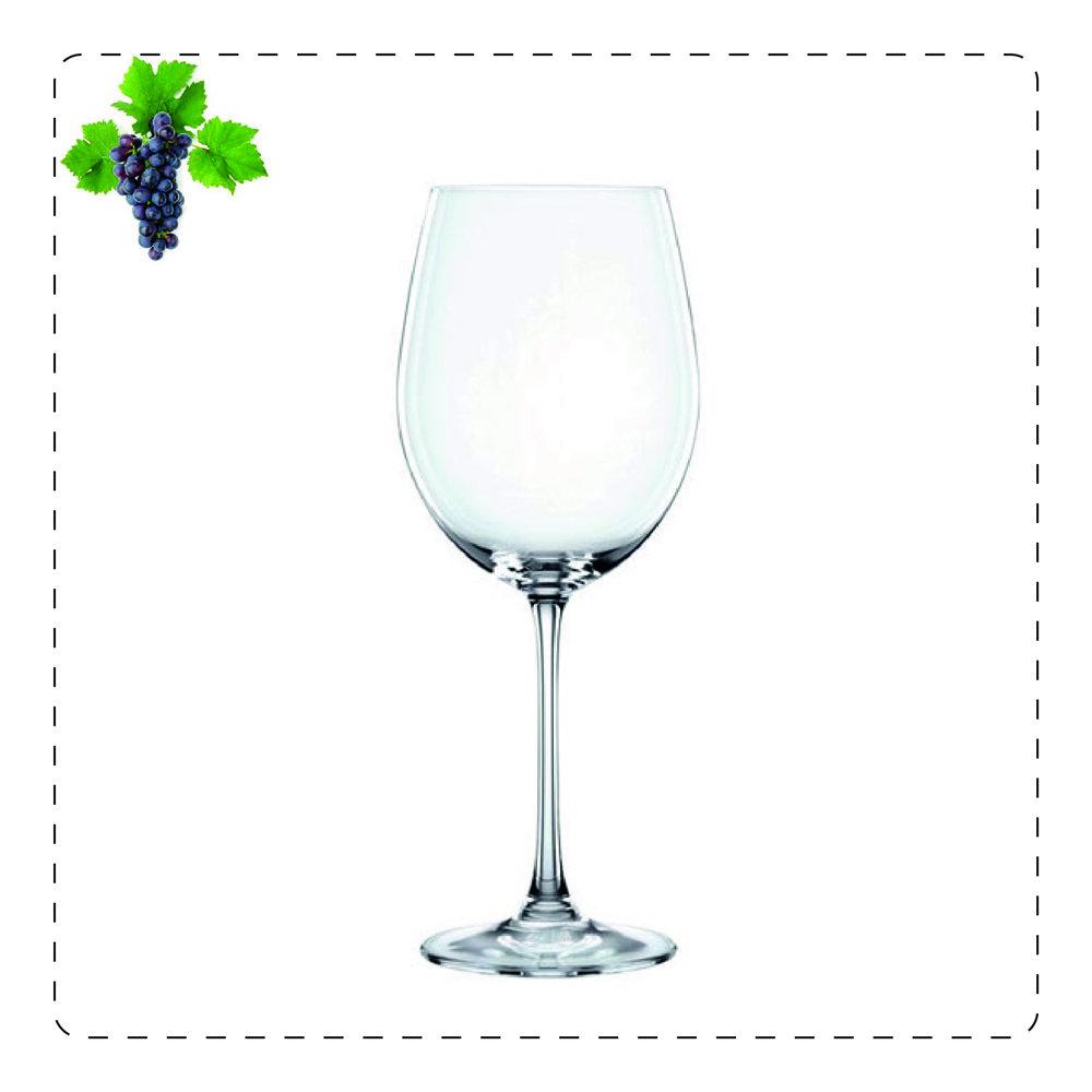 BORDEAUX  Il bordeaux è un calice che in alto si chiude leggermente e dalle dimensioni generose per garantire una buona ossigenazione del vino che può continuare a decantare anche dopo versato. È adatto a vini strutturati tipo Bordeaux o Brunello.