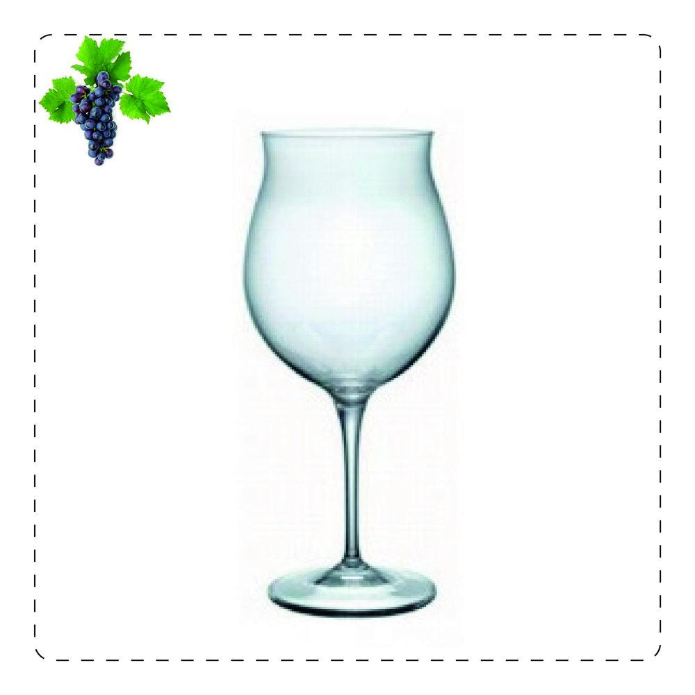 BARBARESCO  È un calice molto capiente e panciuto con apertura dritta o che si allarga in alto. È  perfetto per vini corposi e invecchiati che sprigionano così appieno i loro profumi  complessi, grazie alla forma del bicchiere.
