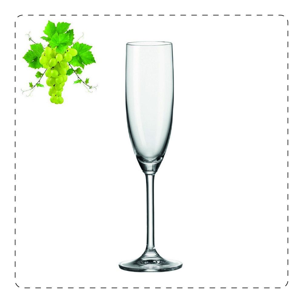 FLÛTE  Utilizzato per spumanti giovani e vini frizzanti, la flûte è un bicchiere a gambo lungo e di forma allungata che limita il contatto della mano col vino, in modo da evitare che il contenuto si scaldi.