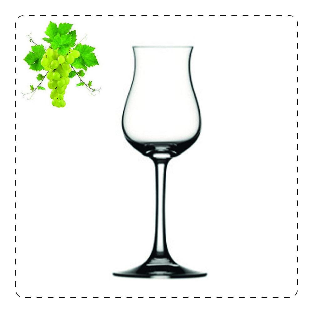 TULIPANO  Questo bicchiere a stelo è adatto per vini bianchi leggeri e freschi; prende il nome proprio dalla sua forma che ricorda, appunto, un tulipano: la parte più alta, più stretta serve a racchiudere gli aromi volatili e a farli scoprire pian piano all'olfatto.