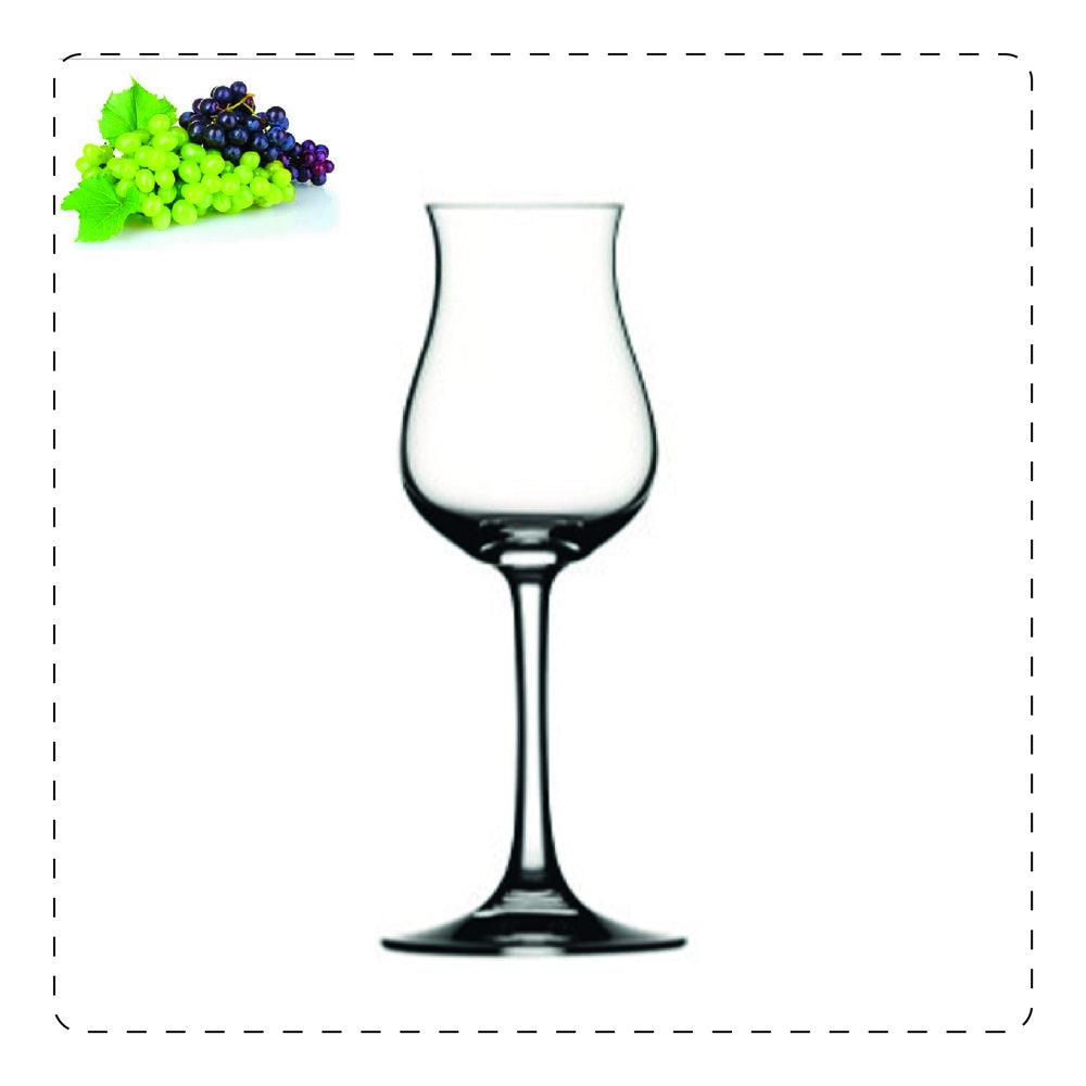 TULIPANO PICCOLO  Questo bicchiere a stelo è adatto anche per i vini passiti e per le vendemmie tardive; prende il nome proprio dalla sua forma che ricorda, appunto, un tulipano: la parte più alta, più stretta serve a racchiudere gli aromi volatili e a farli scoprire pian piano all'olfatto.