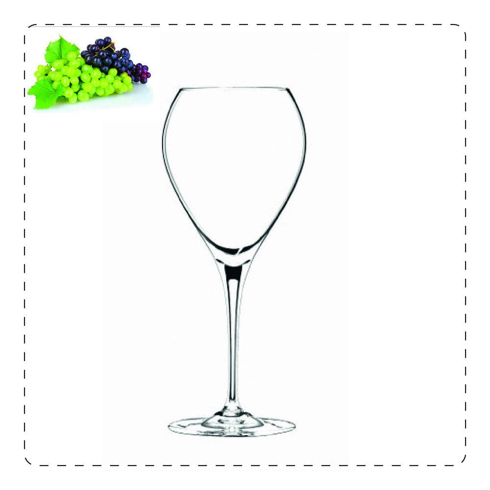 SAUTERNE  È un calice di nuova concezione, adatto soprattutto per i vini muffati: l'ampiezza del bicchiere consente l'esaltazione degli aromi, mentre la pancia alta dona equilibro al vino stesso.