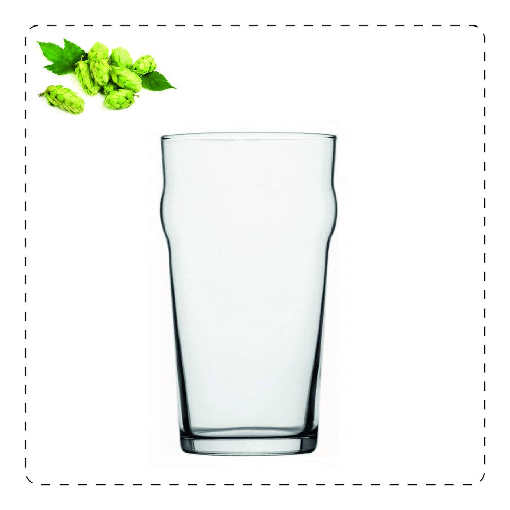 PINTA  Questo bicchiere è utilizzato soprattutto per birre ales inglese o stout irlandesi: la forma a tronco di cono rovesciata esalta la cremosità della schiuma delle stout e al contrario,mitiga le caratteristiche della schiuma delle bitter ales.