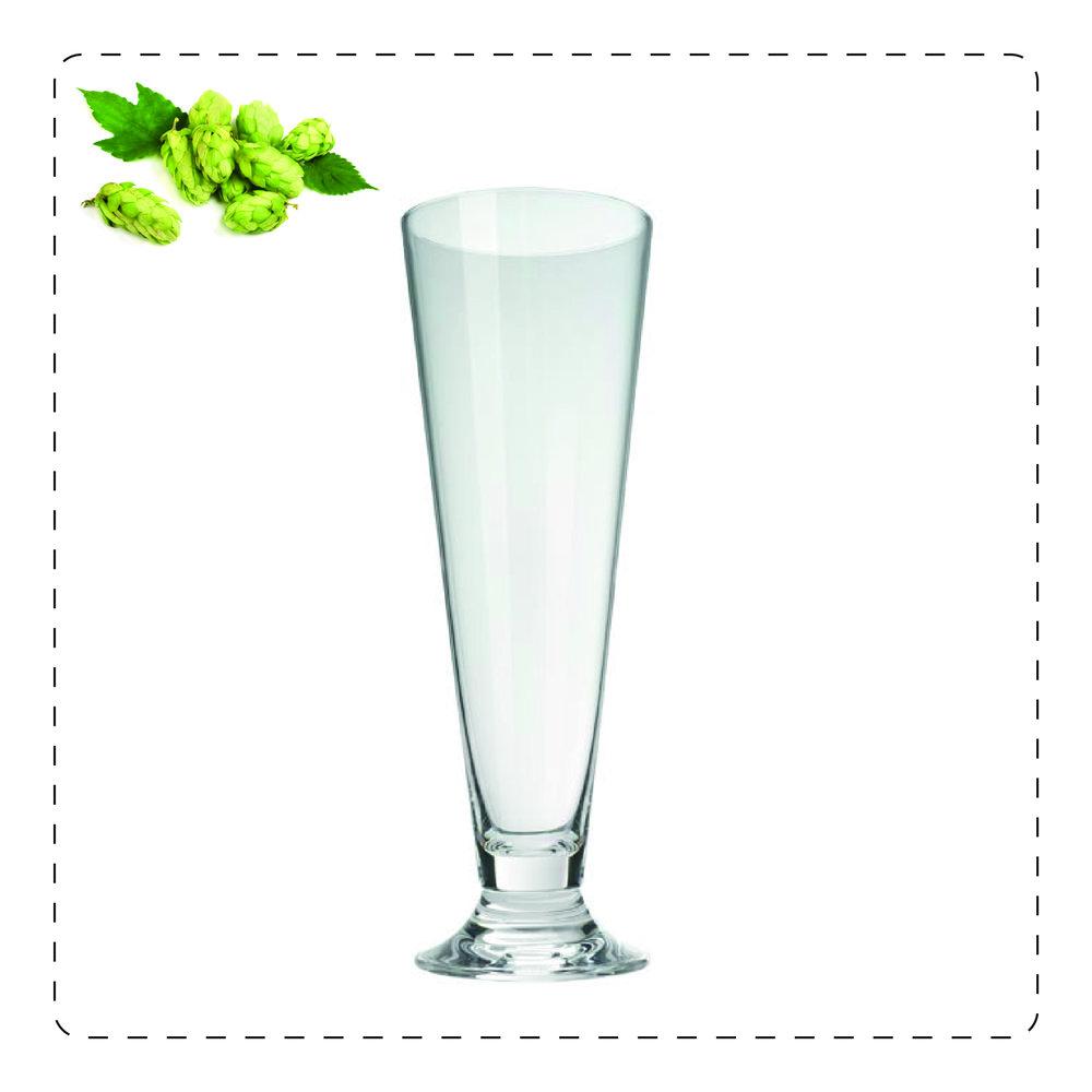 BICCHIERE CILINDRICO  Questo bicchiere a base stretta e a forma allungata è adatto alle birre danesi poiché ne ospita la schiuma, esaltandola.