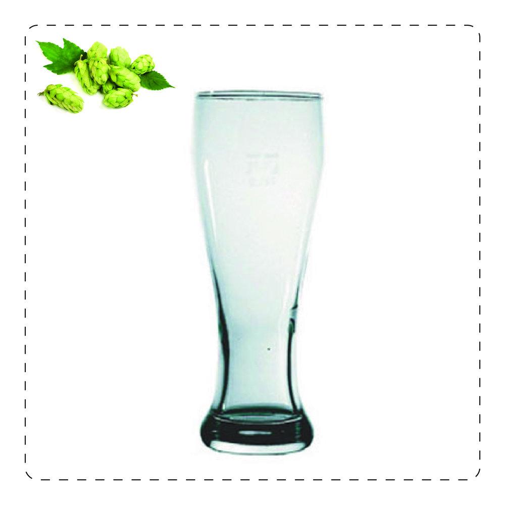 WEIZENGLASS  È il bicchiere disegnato appositamente per accogliere le birre di frumento: il collo largo permette alla schiuma di sprigionarsi senza fuoriuscire mentre il caratteristico retrogusto acidulo di queste birre è esaltato nella parte stretta del bicchiere.