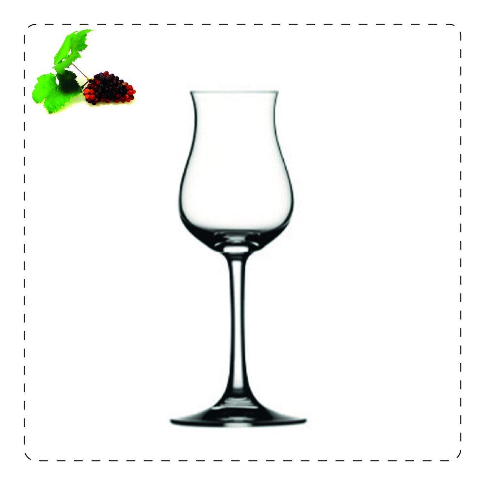 TULIPANO  Questo bicchiere a stelo è adatto per servire distillati bianchi o alla frutta e in genere, tutti i distillati giovani; prende il nome proprio dalla sua forma che ricorda, appunto, un tulipano: la parte più alta, più stretta serve a racchiudere gli aromi volatili e a farli scoprire pian piano all'olfatto.
