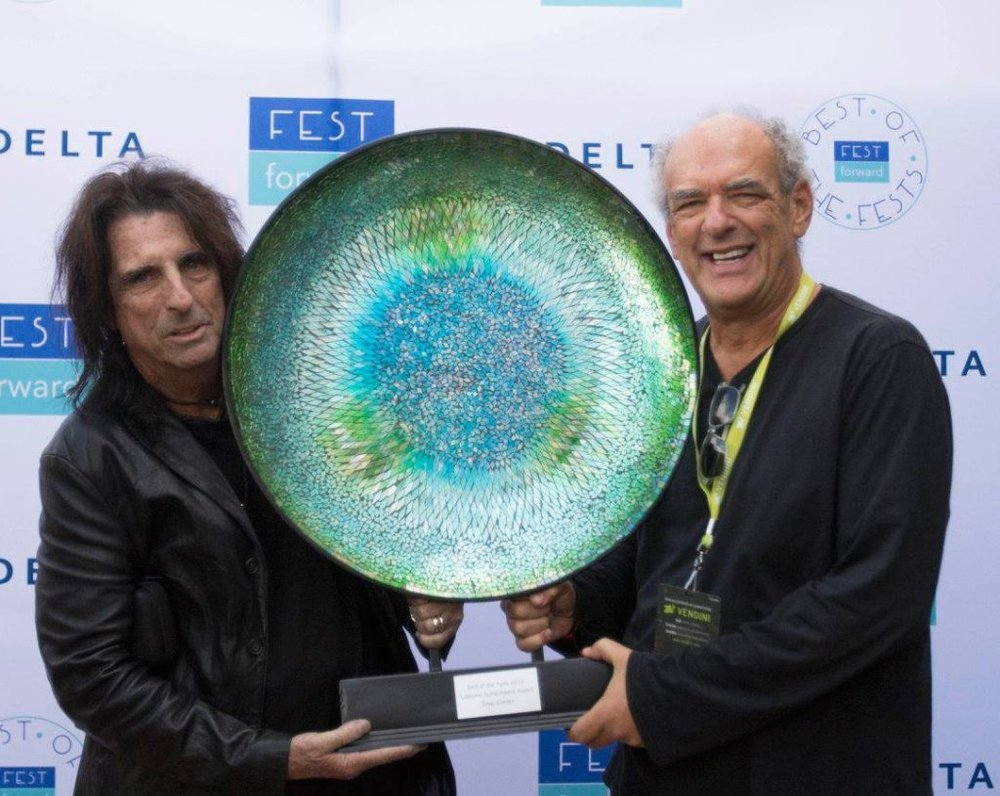 Lifetime Achievement Award presented by Alice Cooper (left) to Shep Gordon (right)
