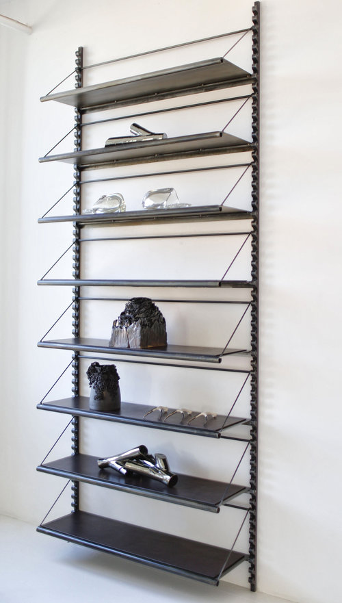 STEEL & LEATHER LIBRARY SHELVING