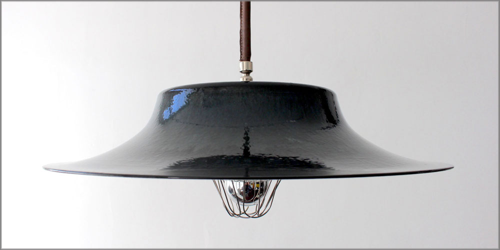 THE SPANISH HAT INCIDENT PENDANT LAMP - PORCELAIN ENAMEL ON STEEL WITH LEATHER COVERED LAMP CORD IN BROWN