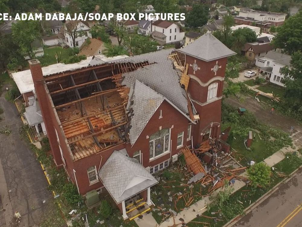 Drone footage of the tornado damage