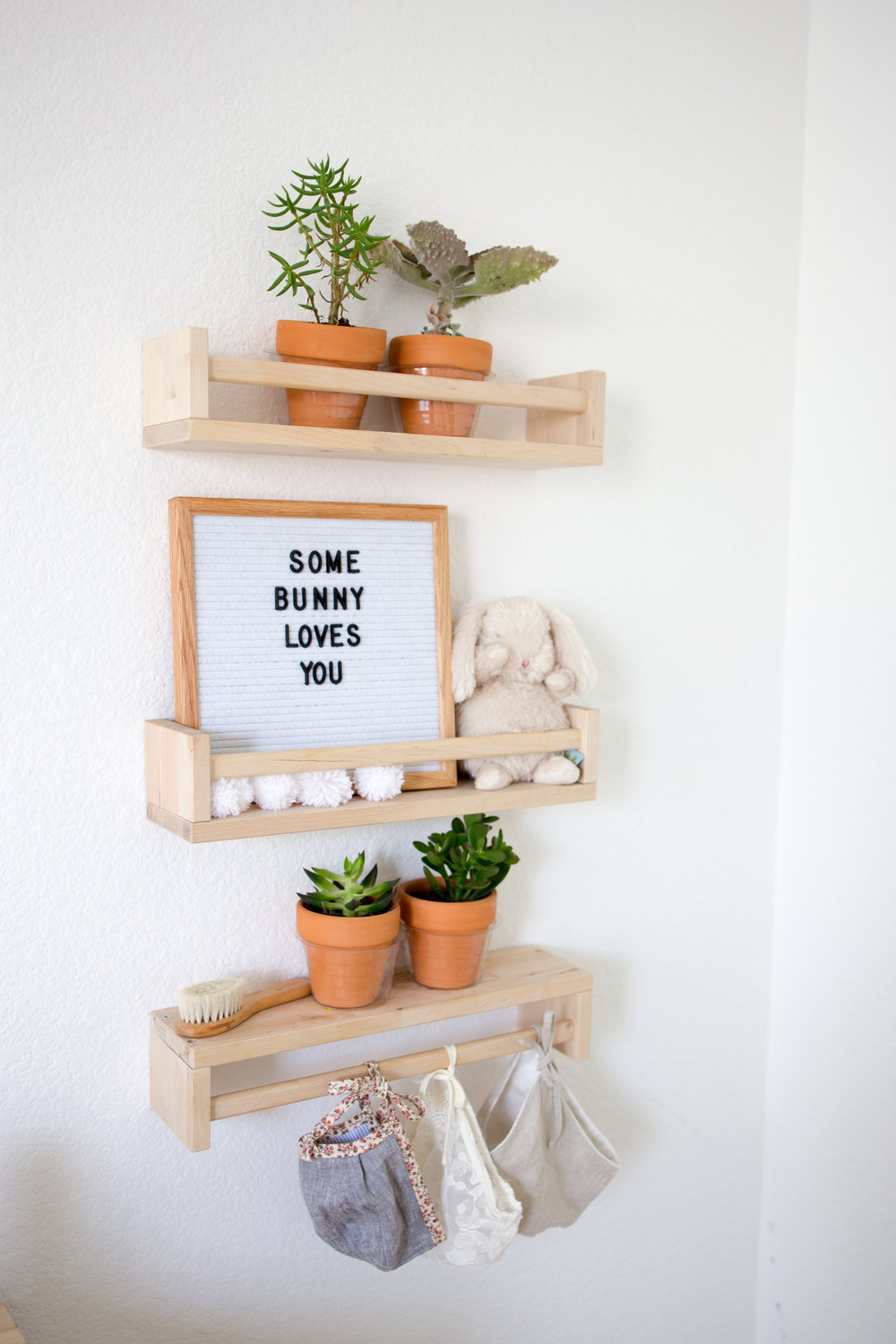 Ikea Bekvam Spice Rack As Shelves In Boho Nursery