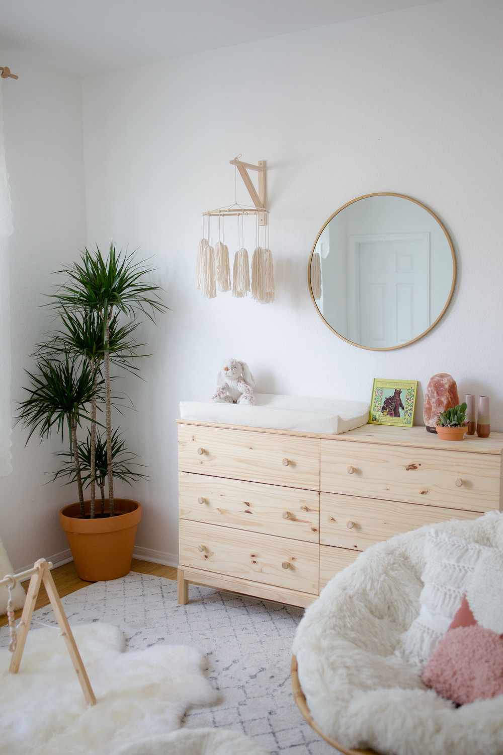 Gender Neutral Boho Nursery with Ikea Tarva Chest.jpg